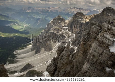 The view from the top of SASS Rigais. The Dolomites in the Alps. Europe - stock photo