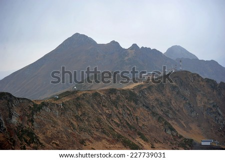 the view from the top of the mountain rose peak 2320 m in Rosa Khutor, Sochi - stock photo