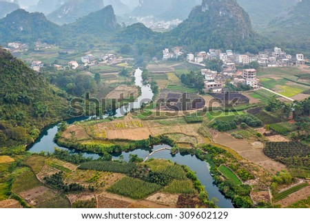 The view from the top of the Vine Mountains near Guilin - China (panorama) - stock photo