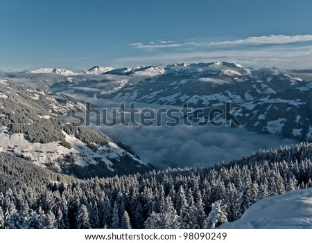 The view from the top to the valley Zillertal - Mayrhofen, Austria
