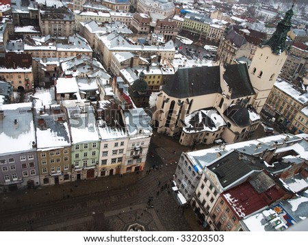 The view from the Town Hall to the roofs of Rynok Square houses and the Latin Cathedral, Lviv, Ukraine
