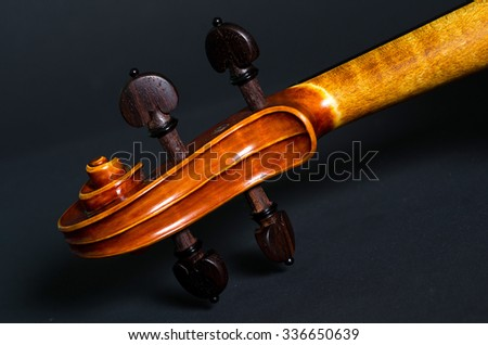 The view of a violin head on black background