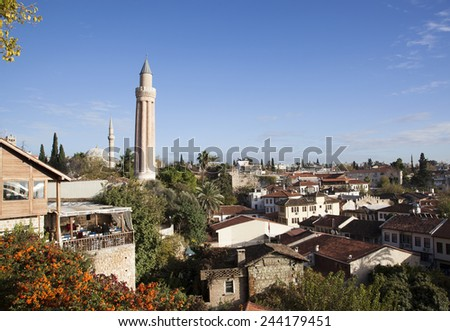 The view of Antalya's old town, the biggest and most popular resort town in Turkey. - stock photo