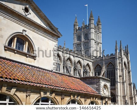 The view of Bath Abbey from the Roman Bath museum in Somerset England