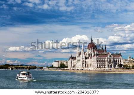 The view of Budapest and the Danube bridges. - stock photo