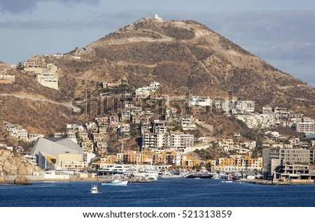 The view of Cabo San Lucas popular resort town in Mexico.