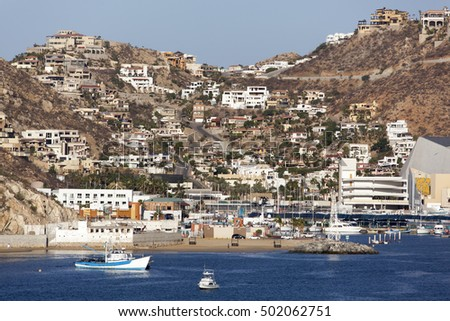 The view of Cabo San Lucas town, famous resort in Mexico.