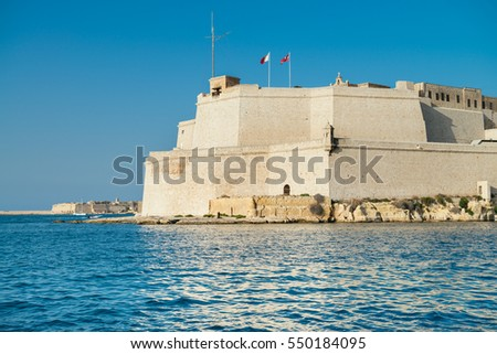 The view of Fort Saint Angelo from the water of Grand Harbour, Birgu, Malta