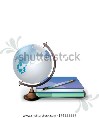 The view of globe with book