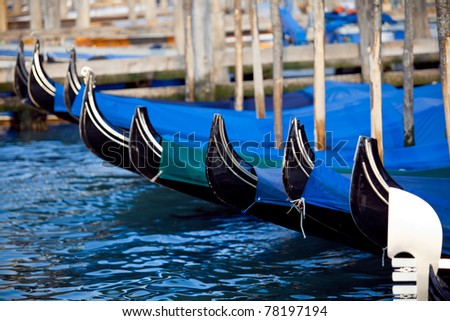 The view of gondola's parking in Venice, Italy - stock photo