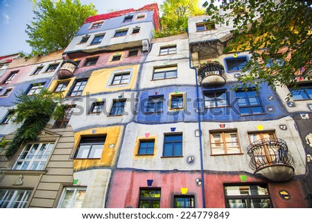 The view of Hundertwasser house in Vienna, Austria - stock photo