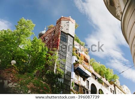 The view of Hundertwasser house in Vienna, Austria - stock photo