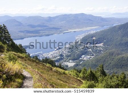 The view of Ketchikan town from Mount Deer (Alaska).