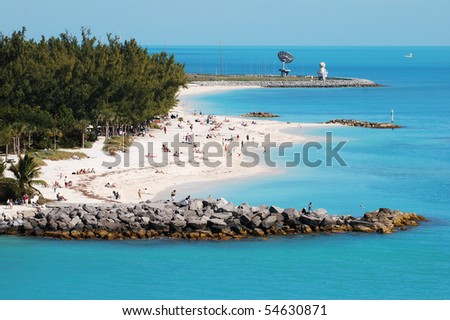 The view of Key West town beach next to the military base (Florida). - stock photo