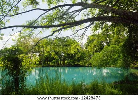 the view of Lake Lenting in North Sumatera, island of Sumatra, Indonesia - stock photo
