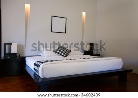 The view of luxury bed room (interior of house) - stock photo