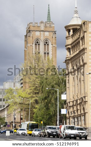 The view of Macquarie Street with a tower of St David's Cathedral (Hobart, Tasmania).