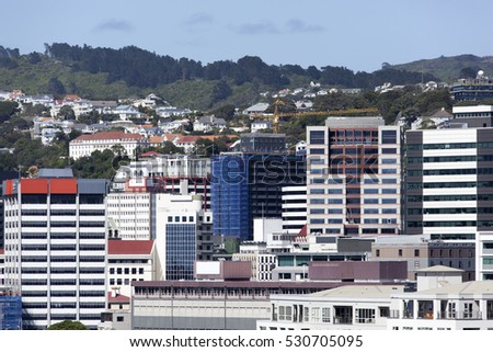 The view of modern buildings in Wellington downtown (New Zealand).