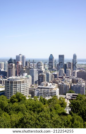The view of Montreal from the Kondiaronk Belvedere Mount Royal - stock photo