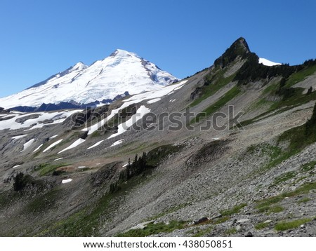 The view of Mount Baker from Ptarmigan Ridge - stock photo