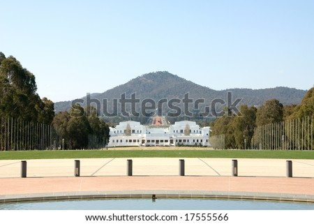 The view of Old Parliament House, the National War Memorial, and Mt Ainslie, from the front courtyard of Parliament House, Canberra, Australia - stock photo