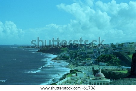The view of Old San Juan, Puerto Rico from the fort at El Morro. - stock photo