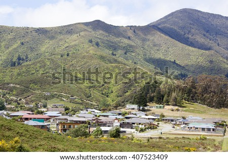 The view of Picton town residential district surrounded by mountains (New Zealand).