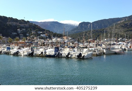 The view of Port de Soller with boats in Mallorca, Balearic Islands, Spain. The photo was taken on 10th of April, 2016.