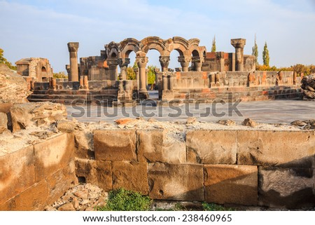 The view of ruins Zvartnots Cathedral in Echmiadzin, Armenia - stock photo