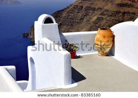 The view of Santorini. Shot was taken in the city Oia, Santorini,  Greece. - stock photo