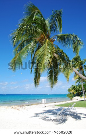 The view of Seven Mile Beach on Grand Cayman island (Cayman Islands). - stock photo