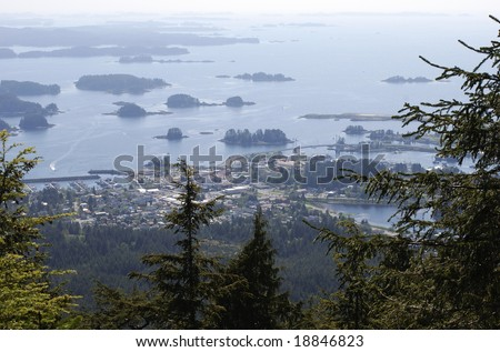 The view of Sitka town from Gavan Hill (Alaska). - stock photo