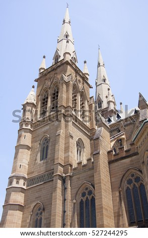 The view of St Mary's Cathedral in Sydney city (New South Wales).