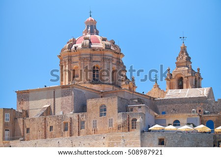 The view of St. Paul's Cathedral in Mdina, Malta