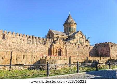 The view of Svetitskhoveli Cathedral in Mtskheta, Georgia - stock photo
