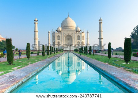 The view of Taj Mahal at sunrise, Agra, India. - stock photo
