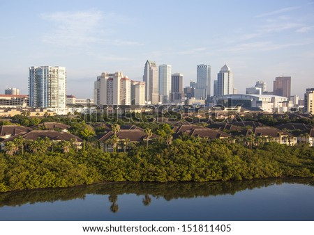 The view of Tampa residence district with downtown skyscrapers in a background (Florida).