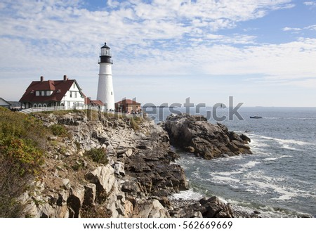 The view of 18th century historic Portland Lighthouse in Cape Elizabeth, Maine.