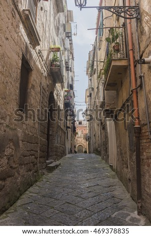 the view of the ancient street. Sessa Aurunca, Italy