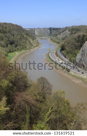 The view of the Avon gorge and river taken from Clifton suspension bridge, Bristol, England