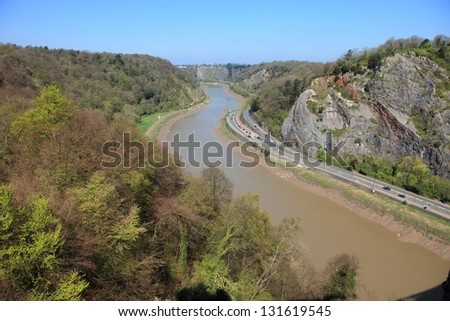 The view of the Avon gorge and river taken from Clifton suspension bridge, Bristol, England - stock photo
