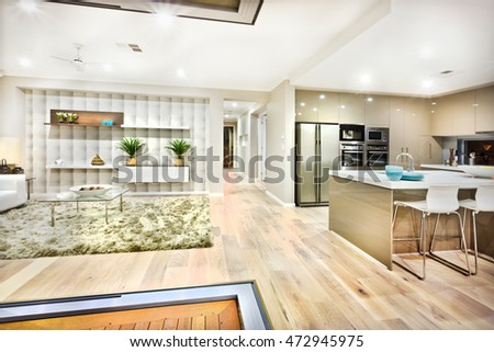 The view of the image describes how the kitchen and living rooms looks like in a luxury house and both can see in the same place. There is wool carpet on the floor with tables and sofas in living side