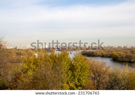 The view of the Moscow River from the top (of Kolomenskoye) autumn - stock photo