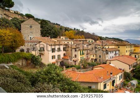 The view of the Tuscany city of Cortona - stock photo