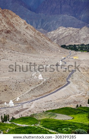 The view of the white stupa from the balcony of the Likir Gompa (monastery) - Tibet, Leh district, Ladakh, Himalayas, Jammu and Kashmir, Northern India - stock photo