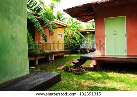 the view of tropical style resort - stock photo