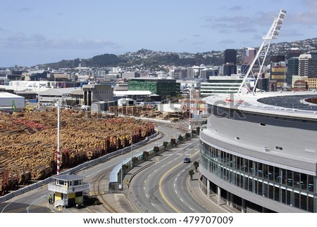 The view of Waterloo Quay stretching around the stadium toward the downtown of Wellington city (New Zealand).