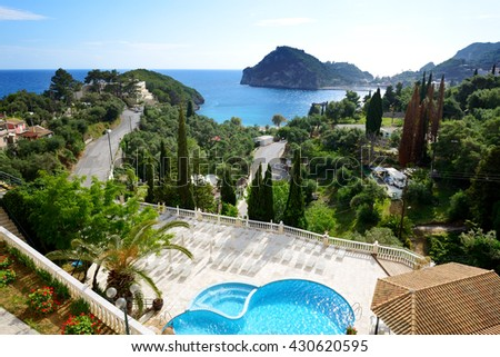 The view on a bay and beach, Corfu, Greece - stock photo