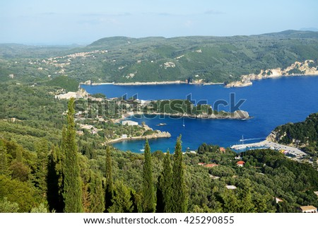 The view on a bay in a heart shape and beach, Corfu, Greece - stock photo