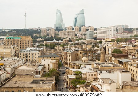 The view on city center of Baku with Flame towers.